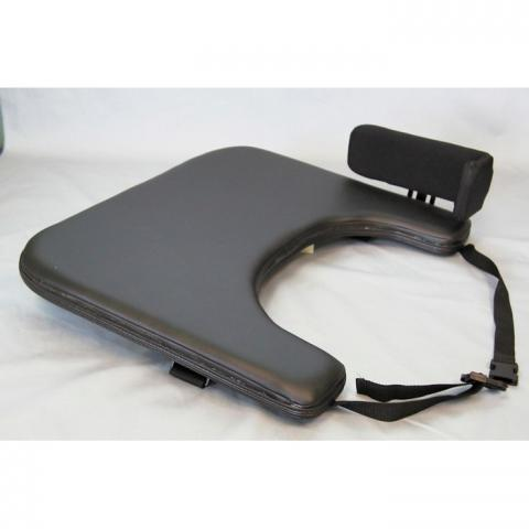 Padded wheelchair tray with elbow stop