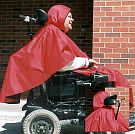 rain poncho with removable fleece liner and option of zippers for power chair headrest opening