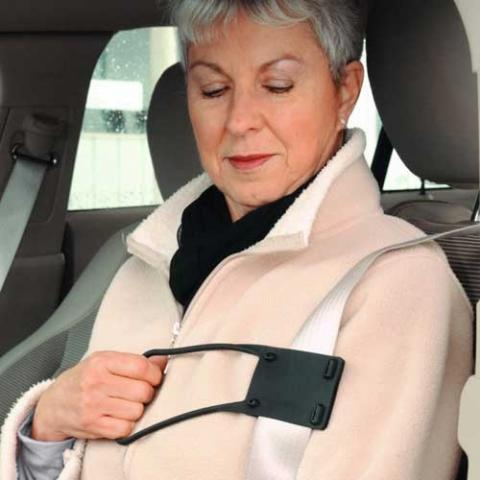 easy reach seat belt handle