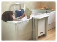 Bather using a Molly Bather bath lift