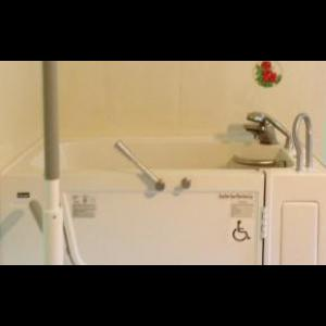 Sanspa Walk in tub with floor to ceiling SUPERPOLE with SUPERBAR